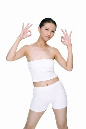 White Background, Hand Sign, One Young Woman Only, Sexy & Slim, Sexy And Slim, Perfection : Stock Photo
