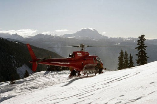 Stock Photo: 4029R-399333 Back country skiing and snowboarding during cat ski and heli ski trips in the Whistler, British Columbia area.