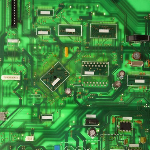 Green circuit board detail. : Stock Photo