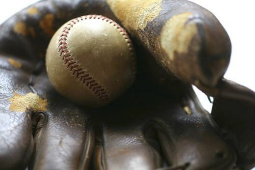 Baseball in glove : Stock Photo