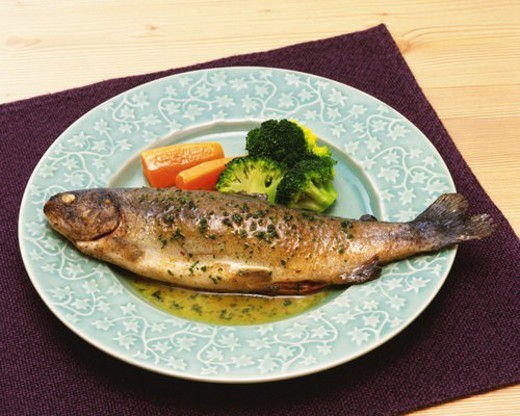 Fish Dish in Western Style, High Angle View : Stock Photo