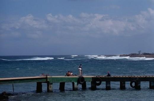 Stock Photo: 4029R-401330 Boys Fishing On Pier