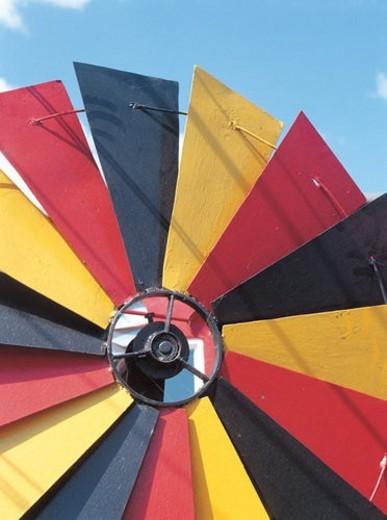 Stock Photo: 4029R-401506 wind generation, sky, energy, power, weather vane, metal, windmill