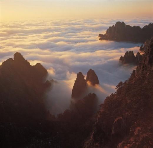 Overlook of Twin Flute Summit, Yunyong, Yellow Mountain : Stock Photo