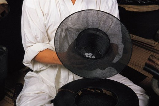 Stock Photo: 4029R-405900 head gear, tradition, clothes, korean dress, korean hat, craft, hat