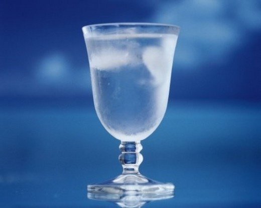 Iced Water in a Glass, Front View, Close Up, Differential Focus, In Focus, Out Focus, : Stock Photo
