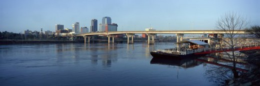 Stock Photo: 4029R-408456 Panoramic view of Arkansas River and skyline in Little Rock