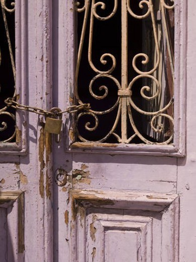 Stock Photo: 4029R-409196 Chained off doorway in Rhodes Greece
