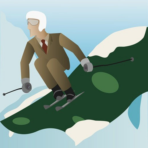 Stock Photo: 4029R-41063 Businessman skiing down a slope