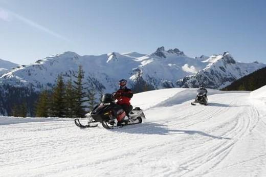 Stock Photo: 4029R-41115 snowmobile adventure tour in Whistler British Columbia