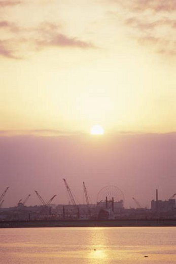 Sunrise over Tokyo Bay and Industrial Area. Koto-ku, Tokyo, Japan : Stock Photo