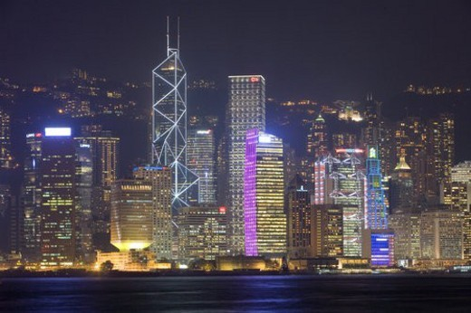 Stock Photo: 4029R-411673 Night scene of skyscrapers, Hong Kong