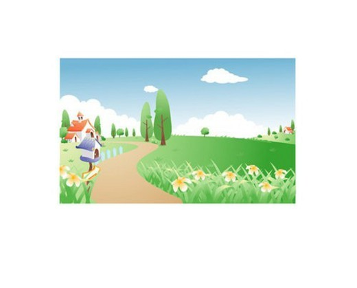 Stock Photo: 4029R-412109 hill, house, mailbox, tree, flower, seasons, kindergarten