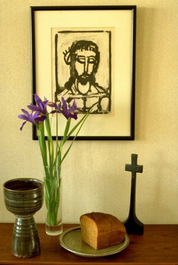 Communion bread cross wine flowers and sketch of Jesus : Stock Photo