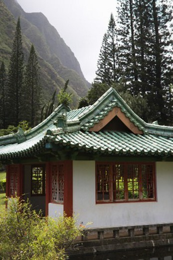 Stock Photo: 4029R-413356 Shot of a pagoda in Iao Valley State Park in Maui, Hawaii.