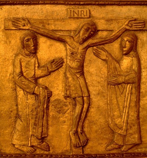 Stock Photo: 4029R-413534 Stations of the cross number twelve Jesus crucified on the cross. Richfield Minnesota USA