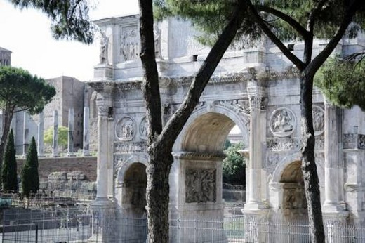 Stock Photo: 4029R-414048 Rome, Italy; Arch of Constantine