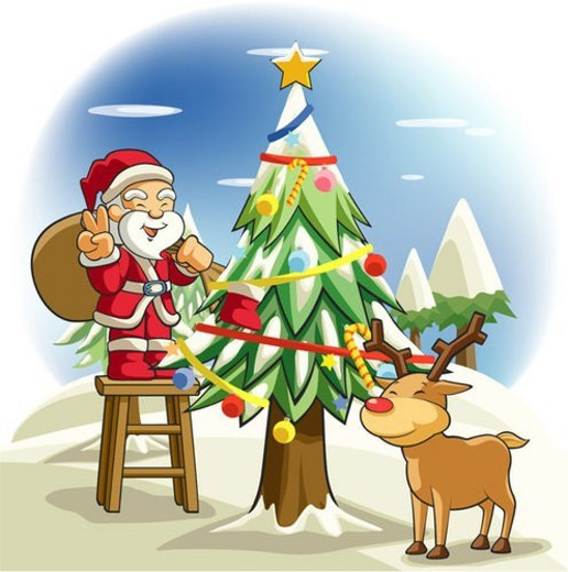 Stock Photo: 4029R-41439 decoration, tree, deer, snow, deer, winter