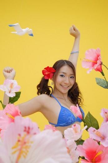 Portrait of a teenage girl in bikini : Stock Photo