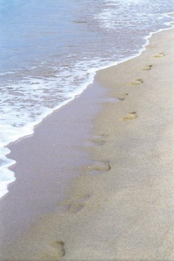 footprints, wave, footprint, sands, waves, Scenery, Natural scenery : Stock Photo
