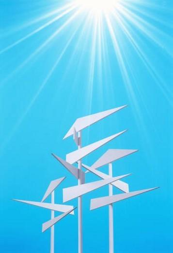 Stock Photo: 4029R-416770 Blank arrow signs under the sun