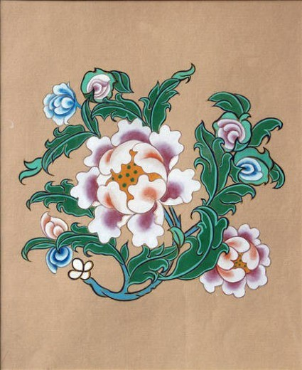 A photo of  Tibet painting (lotus flower-one of eight treasures) : Stock Photo