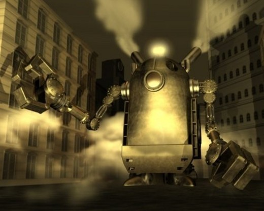 Stock Photo: 4029R-417916 Robot, Illustration, CG, 3D, Sepia, Low Angle View
