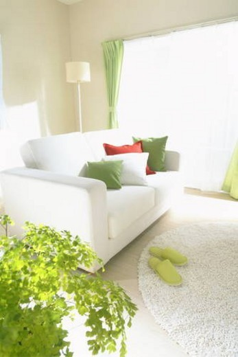 Living room with white sofa : Stock Photo