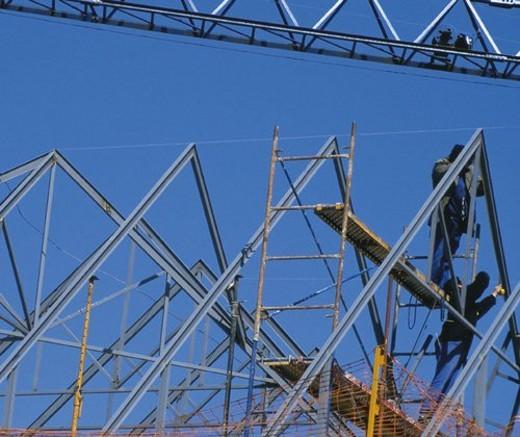 Stock Photo: 4029R-420438 Construction, Roof, Frame, Framework, Metalic framework, Solder, Weld