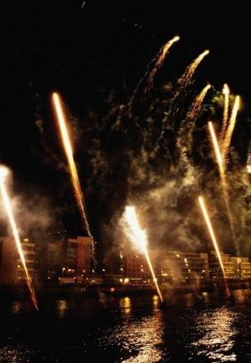 Stock Photo: 4029R-422189 St Patrick s Day Festival, fireworks display, Custom House Quay, Dublin, Ireland