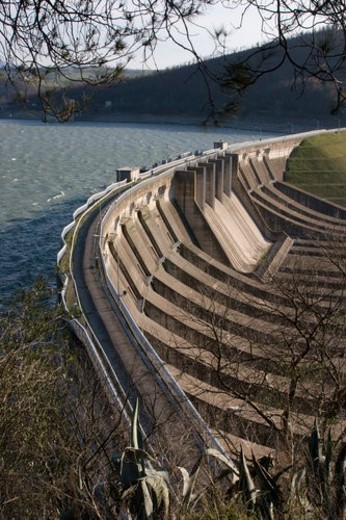 Aerial view of hydroelectric dam, Lake Corbara Umbria, Italy : Stock Photo