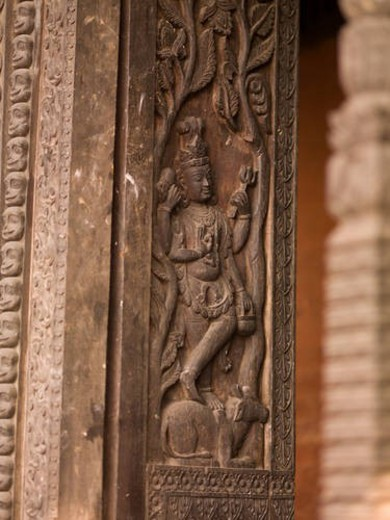 Stock Photo: 4029R-423129 Varanasi, India - Carved surface on wall