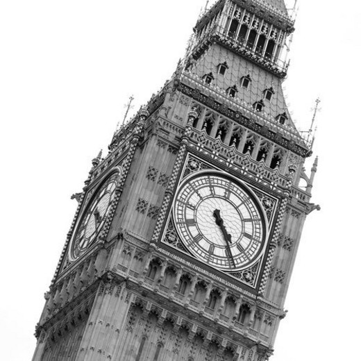Low angle view of the clock tower Big Ben, London, England : Stock Photo
