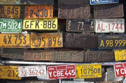 Stock Photo: 4029R-423908 Vintage old license plates