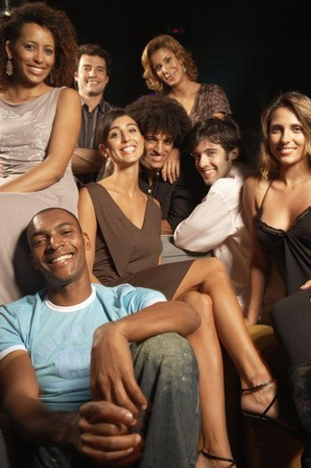 Stock Photo: 4029R-424737 Group of clubbers (portrait)