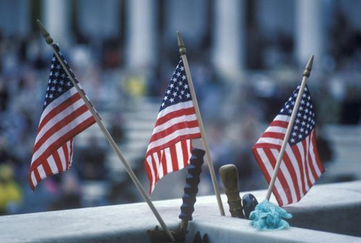 Three American Flags, Arlington National Cemetery : Stock Photo