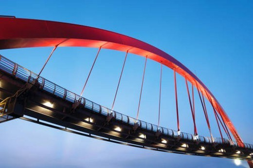 Low angle view of a bridge, Rainbow Bridge, Taipei, Taiwan : Stock Photo