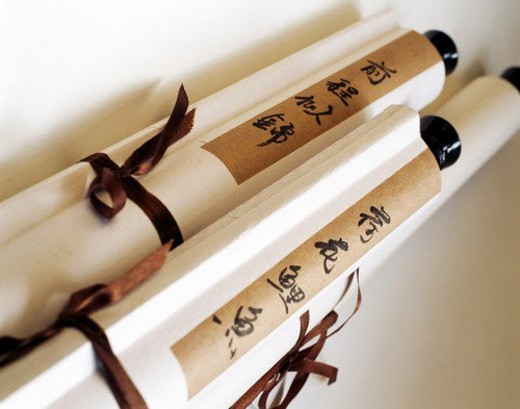 A photo of Chinese traditional hanging scrolls : Stock Photo