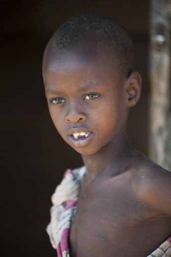 Stock Photo: 4029R-427618 Kenyan child in tribal attire