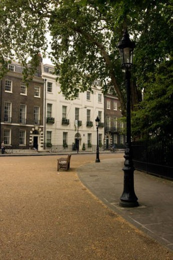 Stock Photo: 4029R-429018 Bedford Square, Bloomsbury, London, view of curving path and houses