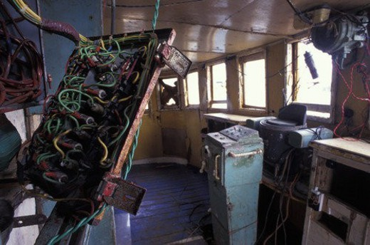 Interior of decrepit old boat : Stock Photo