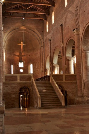 Stock Photo: 4029R-429555 Benedictine Abbey of Nonantola, view of nave, elevated altar and apse, and stairs down to crypt