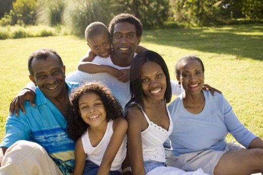 Family and grandparents in park : Stock Photo