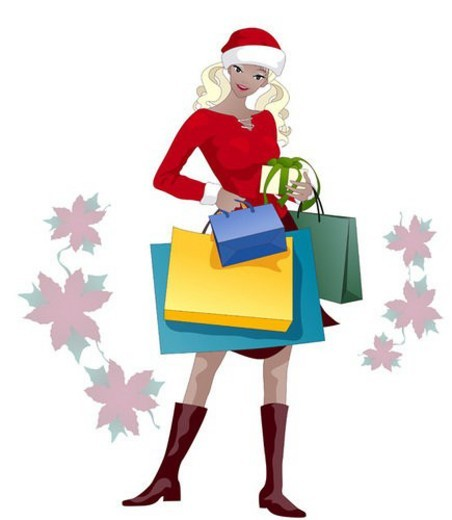 Stock Photo: 4029R-431365 merrychristmas, woman, present, christmas, girl, winter, event