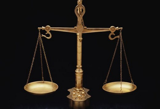 These are the golden scales of justice : Stock Photo
