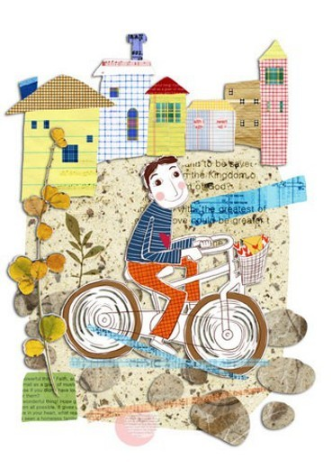 house, letters, home, Bicycle, delivery, person, Letter : Stock Photo