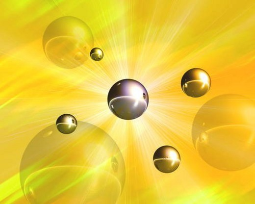 Spheres and sunbeam : Stock Photo