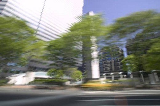 Cityscape, blurred motion, Tokyo prefecture, Japan : Stock Photo