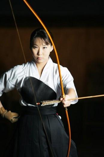Player of kyudo : Stock Photo
