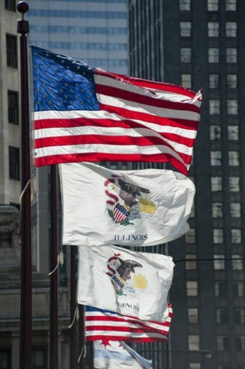 Flags along Michigan Avenue in Chicago : Stock Photo
